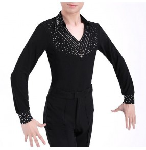 Men's rhinestones competition latin dance shirts ballroom waltz tango chacha dance tops shirts